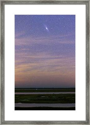 Andromeda Galaxy Over The Parana River Framed Print by Luis Argerich
