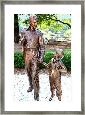 Andy And Opie Statue Nc Framed Print by Frank Savarese