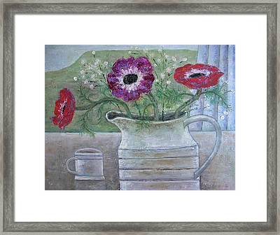 Anemones In White Jug, 2013, Oil On Panel Framed Print by Ruth Addinall