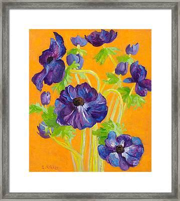 Anemones On A Darkyellow Background Framed Print