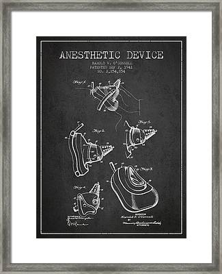 Anesthetic Device Patent From 1941 - Charcoal Framed Print by Aged Pixel