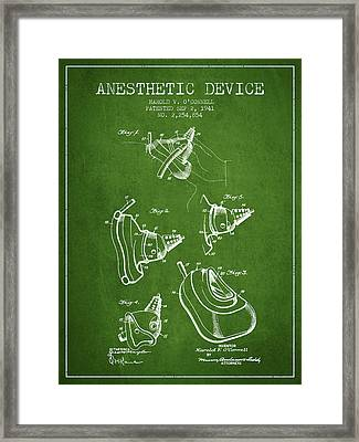 Anesthetic Device Patent From 1941 - Green Framed Print