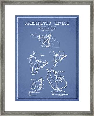 Anesthetic Device Patent From 1941 - Light Blue Framed Print