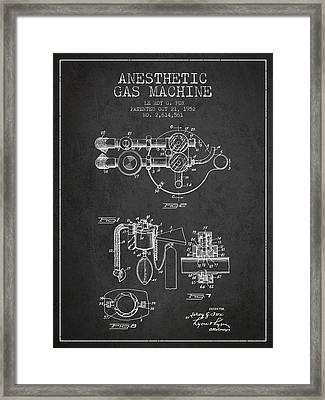 Anesthetic Gas Machine Patent From 1952 - Charcoal Framed Print by Aged Pixel