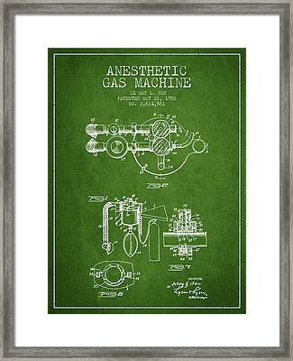 Anesthetic Gas Machine Patent From 1952 - Green Framed Print by Aged Pixel