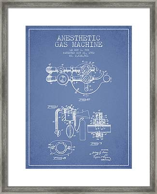 Anesthetic Gas Machine Patent From 1952 - Light Blue Framed Print by Aged Pixel