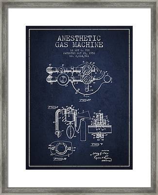 Anesthetic Gas Machine Patent From 1952 - Navy Blue Framed Print by Aged Pixel