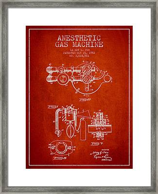 Anesthetic Gas Machine Patent From 1952 - Red Framed Print by Aged Pixel