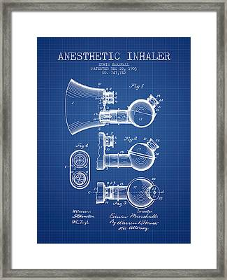 Anesthetic Inhaler Patent From 1903 - Blueprint Framed Print by Aged Pixel