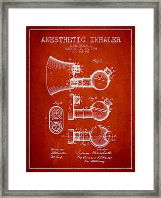Anesthetic Inhaler Patent From 1903 - Red Framed Print by Aged Pixel