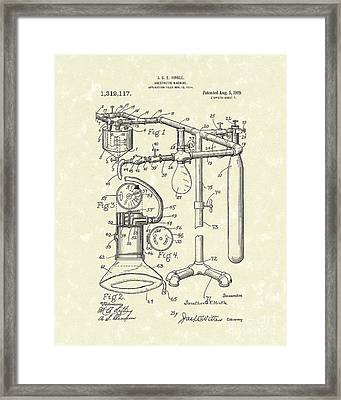 Anesthetic Machine 1919 Patent Art Framed Print