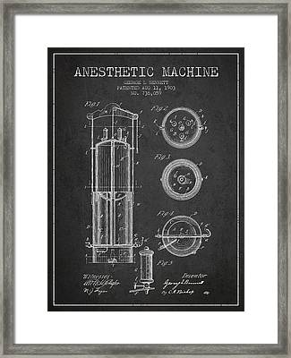 Anesthetic Machine Patent From 1903 - Charcoal Framed Print