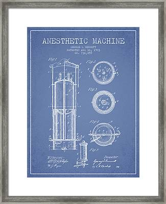Anesthetic Machine Patent From 1903 - Light Blue Framed Print