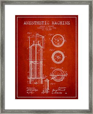 Anesthetic Machine Patent From 1903 - Red Framed Print