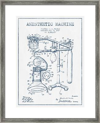 Anesthetic Machine Patent From 1919 - Blue Ink Framed Print
