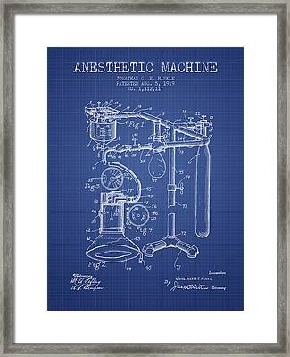 Anesthetic Machine Patent From 1919 - Blueprint Framed Print
