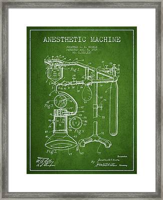Anesthetic Machine Patent From 1919 - Green Framed Print