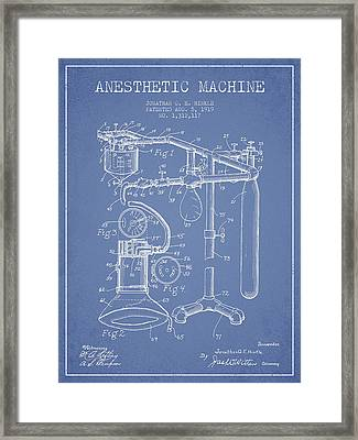 Anesthetic Machine Patent From 1919 - Light Blue Framed Print