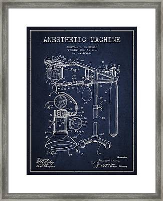 Anesthetic Machine Patent From 1919 - Navy Blue Framed Print