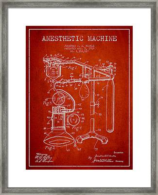 Anesthetic Machine Patent From 1919 - Red Framed Print by Aged Pixel