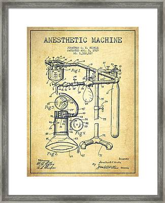 Anesthetic Machine Patent From 1919 -vintage Framed Print by Aged Pixel