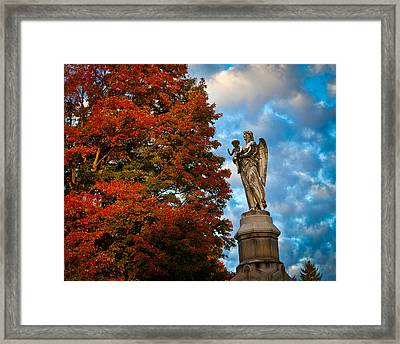 Angel And Boy In Foliage Scenery Framed Print by Jiayin Ma