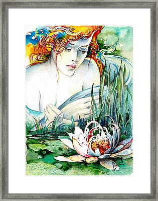Framed Print featuring the painting Angel And Lily by Anna Ewa Miarczynska