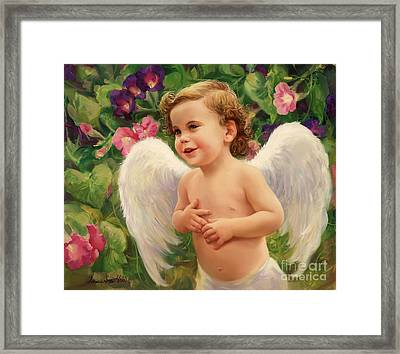 Angel And Morning Glory Framed Print