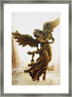Angel Art - Impressionistic Dreamy Surreal Angel Art  Framed Print