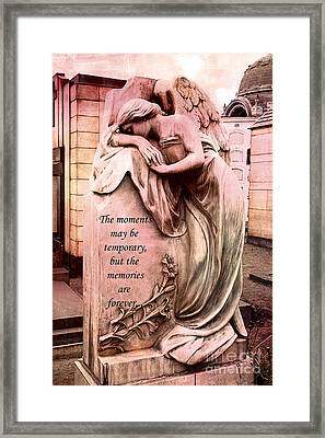 Angel Art - Memorial Angel Weeping Sorrow At Grave With Inspirational Message - Memories Are Forever Framed Print by Kathy Fornal