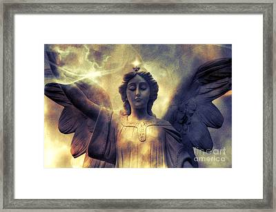 Angel Art Surreal Fantasy Heavenly Angel Celestial Spiritual Framed Print by Kathy Fornal