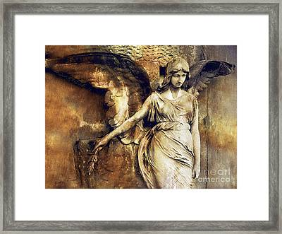 Angel Art - Surreal Gothic Angel Art Photography Dark Sepia Golden Impressionistic Angel Art Framed Print by Kathy Fornal