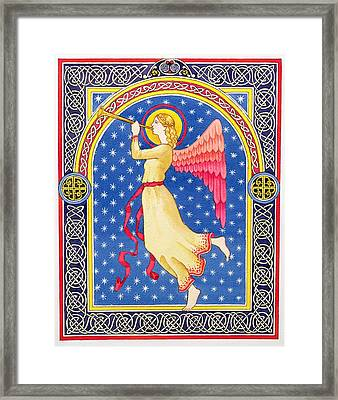 Angel Blowing Trumper Framed Print by Lavinia Hamer