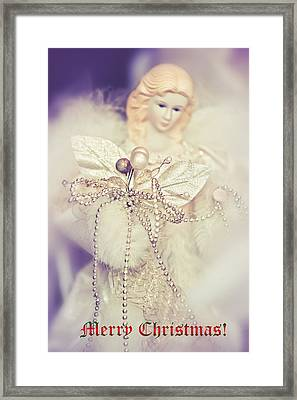 Angel Coming. Merry Christmas  Framed Print