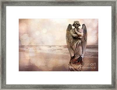 Angel Ethereal Spiritual Fine Art - Angel Art Quiet Surreal Ocean Scene Framed Print by Kathy Fornal