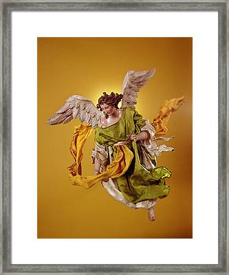 Angel, From The Christmas Creche And Tree Terracotta & Cloth Framed Print