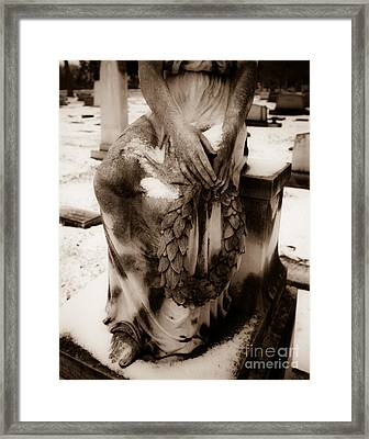Angel In Snow Framed Print by Sonja Quintero