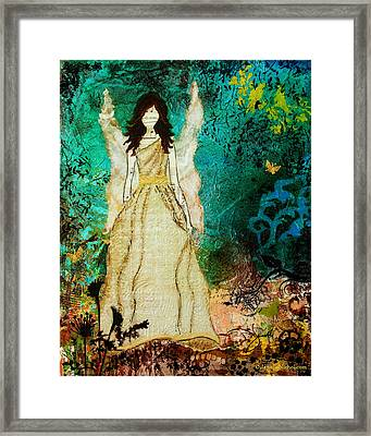 Angel In The Garden Inspirational Abstract Mixed Media Art Framed Print by Janelle Nichol