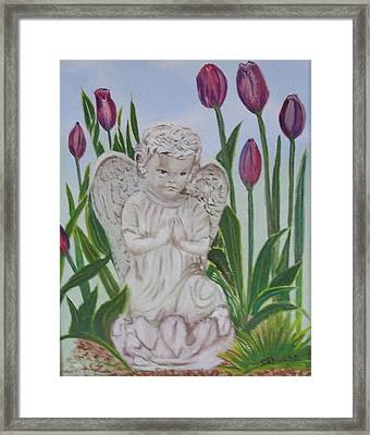 Framed Print featuring the painting Angel In The Garden by Sharon Schultz