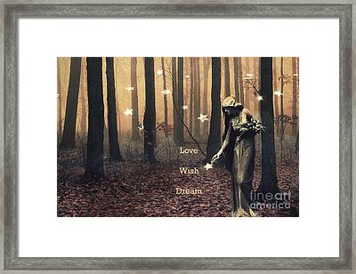 Angel Inspirations - Inspirational Angels Ethereal Spirit Female Haunting Fantasy Woodlands  Framed Print by Kathy Fornal