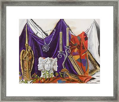Framed Print featuring the painting Angel Meets Janus by Susan Culver