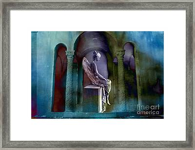 Angel Mourning Sadness - Haunting Fantasy Surreal Angel Art Teal Aqua Purple  Framed Print by Kathy Fornal