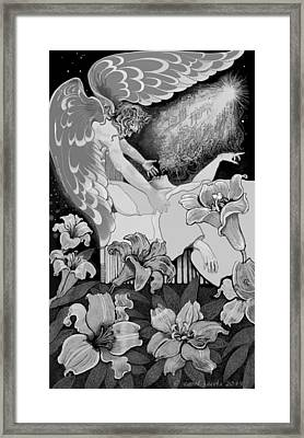 Framed Print featuring the digital art Angel Of Death Vision by Carol Jacobs