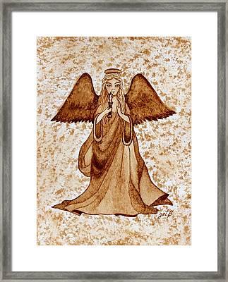 Angel Of Hope Original Coffee Painting Framed Print by Georgeta Blanaru