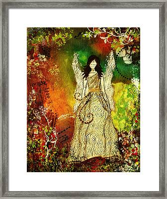 Angel Of Light Christian Inspirational Mixed Media Artwork Of Angel Framed Print