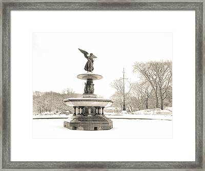 Angel Of The Waters - Central Park - Winter Framed Print by Vivienne Gucwa