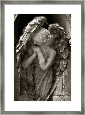 Angel Photography - Dreamy Spiritual Angel Art - Guardian Angel Art In Prayer  Framed Print