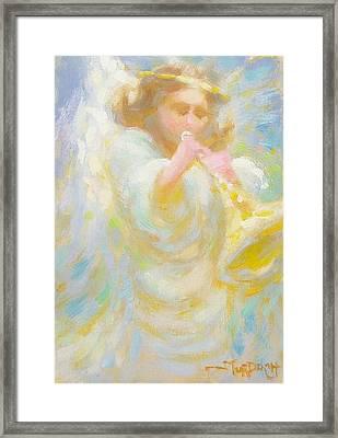 Angel Playing Lovesong Framed Print by John Murdoch