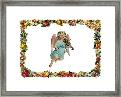 Angel Playing The Lute Framed Print by Munir Alawi