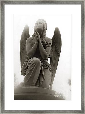 Angel Praying - Beautiful Dreamy Angel In Prayer - Praying Angel Looking To Heaven Framed Print by Kathy Fornal